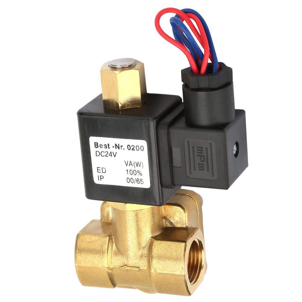 normalmente abierto V/álvula solenoide el/éctrica de lat/ón G1 // 2para agua-aire 0-1.6Mpa V/álvulas solenoides el/éctricas DC24V