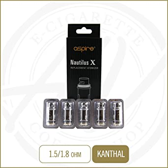 Cabezal de vaporizador Aspire Nautilus X auténtico, 1,8 Ohm, 1 paquete de 5 tanques de repuesto: Amazon.es: Grandes electrodomésticos
