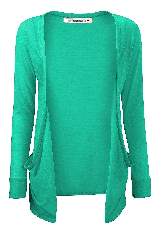 Janisramone Kids Girls Plain Open Front Pocket Boyfriend Cardigan Long Sleeve Casual Shrug