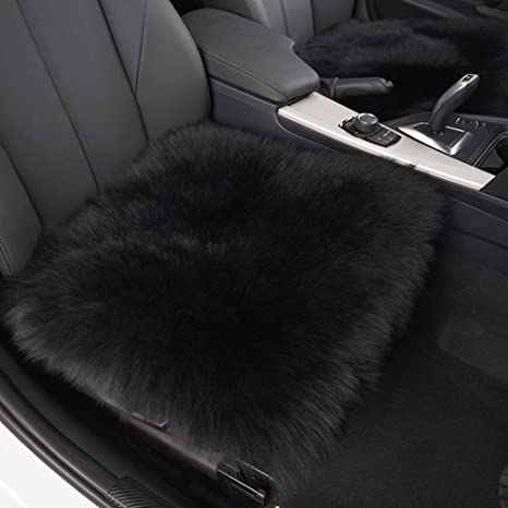 HAOCOO 18 Inch Luxurious Faux Sheepskin Long Wool Car Seat Covers Chair Pad Black