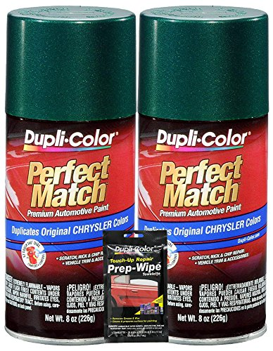 (Dupli-Color Forest Green Pearl Perfect Match Automotive Paint for Chrysler Vehicles - 8 oz, Bundles with Prep Wipe (3 Items))