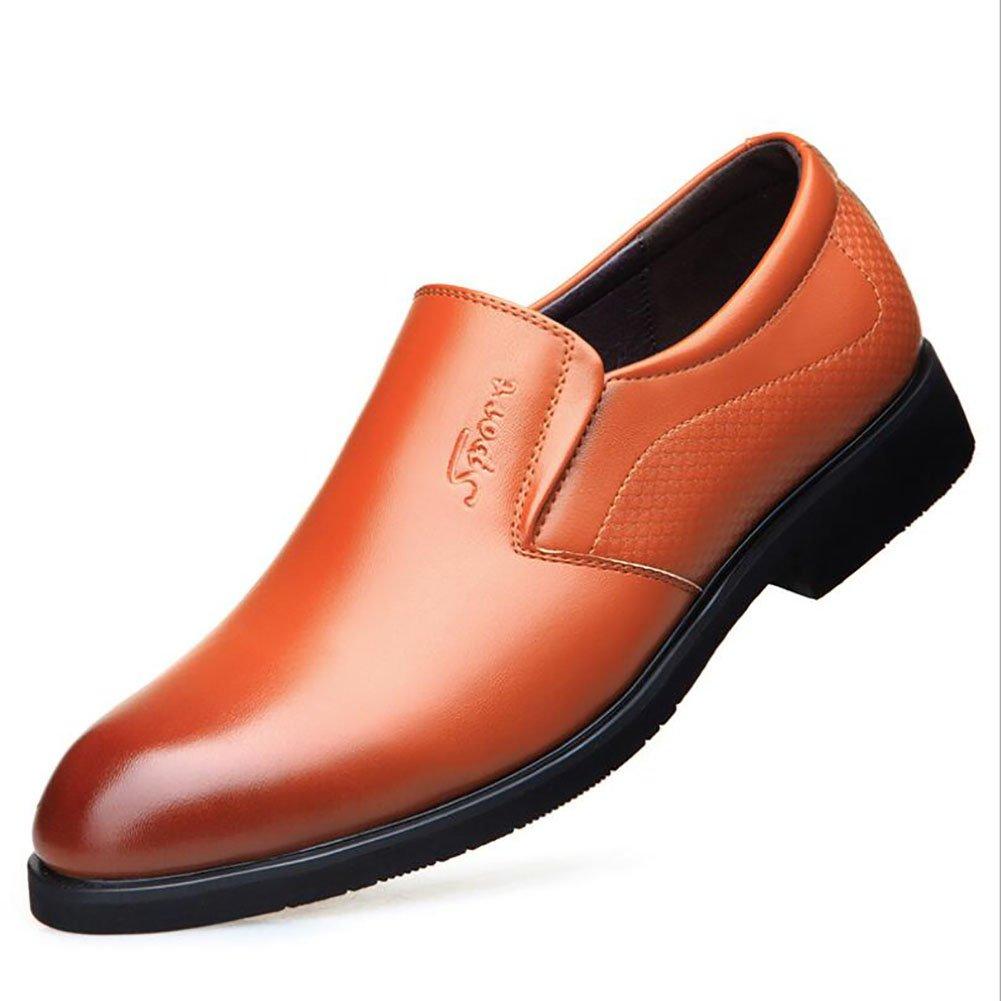 Herren Lederschuhe Formale Schuhe Oxfords Party & Abend/Lederschuhe wies Gummisohle Formale Geschäft Arbeit Bequeme Mokassins (Farbe : Braun, Größe : 40)