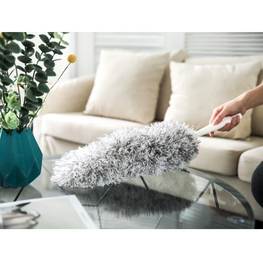 New Microfiber Duster,Extension Pole Reach 47''-68'' inches with Clothes Fork Extending Duster,Washable Bendable Head,Long Duster for Cleaning Dust, High Ceiling Fans, Cobweb,Interior Roof (68) by Furein (Image #5)