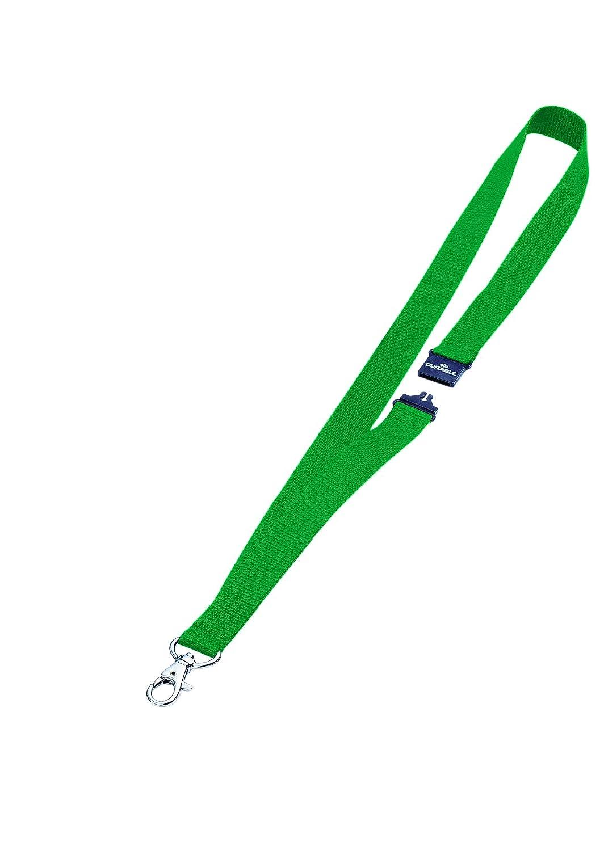 DURABLE 813705 - Cordoncino in tessuto, clip per combinazione con i portanome con asola, larghezza 20 mm, lunghezza 44 cm, verde, confezione da 10 pezzi