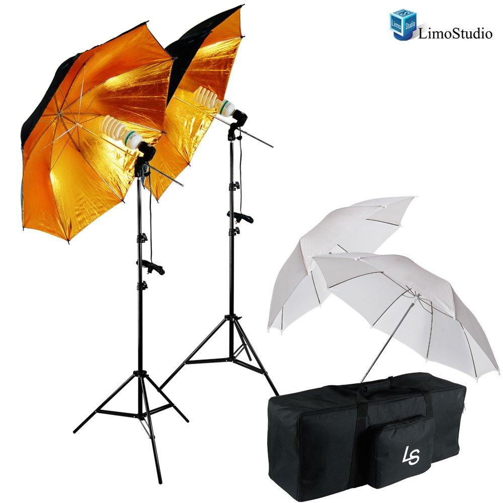 LimoStudio 33'' Black & Gold Umbrella Double Light Lighting Kit - Black/Gold Reflective Umbrella, White Reflective Umbrella, 45W CFL Daylight Bulb, Exclusive Premium Carry Bag, AGG1298 by LimoStudio (Image #1)