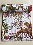 Mango Gifts Indian Quilts, Pure Cotton Kantha Style Queen Size Quilt Bed Spread, Indian Gudri Bed Cover