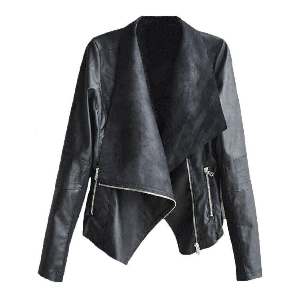 Qisc Womens Moto Biker Zipper Jacket Slim Tailoring Faux Leather PU Short Jacket Coat (S, Black)