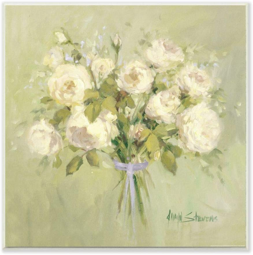 Stupell Industries Rose Bouquet Flower Green White Painting, Design by Artist Jadei Graphics Art, 12 x 0.5 x 12, Wall Plaque