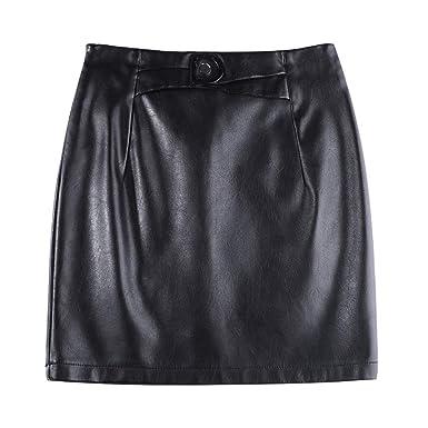 DISSA D6831 - Falda de tulipán para Mujer, Piel sintética Negro 34 ...