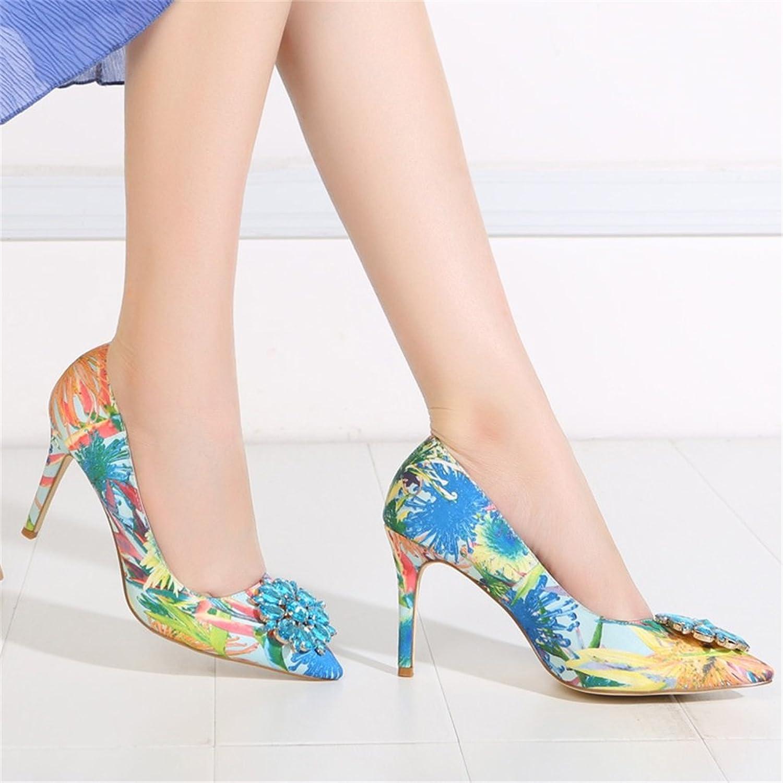 Xianshu Drucken Blumen Seide Strass Spitz Zehe Schuhe Pumps(Blau-42) DtP5QD