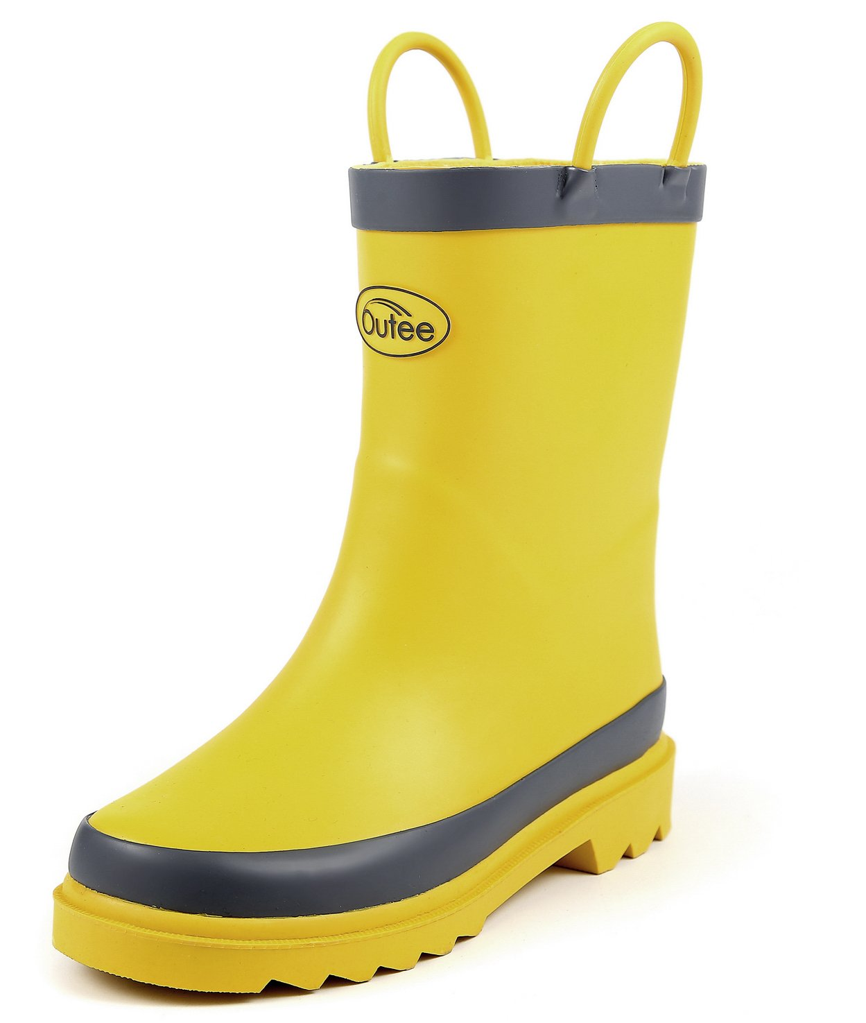 Outee Boys Girls Kids Rubber Rain Boots Waterproof Shoes Yellow in Solid Color with Easy On Handles Cute Fun Removable Insoles Anti-Slippery Durable Sole with Grip (Size 3)