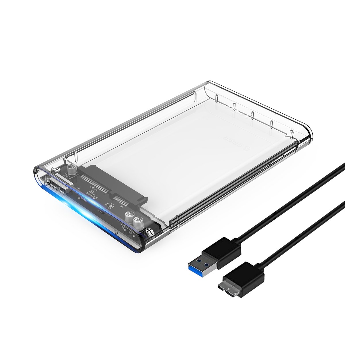ORICO 2.5 USB 3 External Hard Drive Enclosure Casing for 2.5 inch 7mm/9.5mm SATA HDD SSD Support UASP SATA III Max 2T Tool-Free Design - Clear
