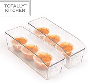 Totally Kitchen Clear Plastic Stackable Storage Bins with Carrying Handles | Refrigerator, Freezer, Pantry or Clothes Organization Container | Small