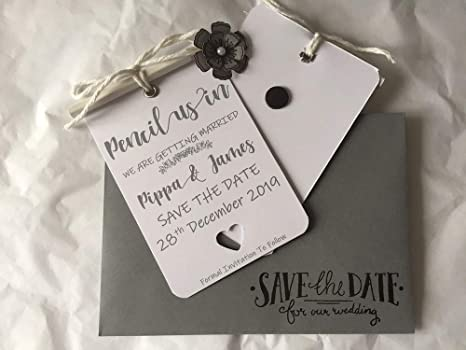 5 Pencil Us in Save The Dates White /& Grey Personalised Magnetic Wedding Invitations Tags Cards /& Wagtail Grey Save The Date Envelopes Qtys 10-100