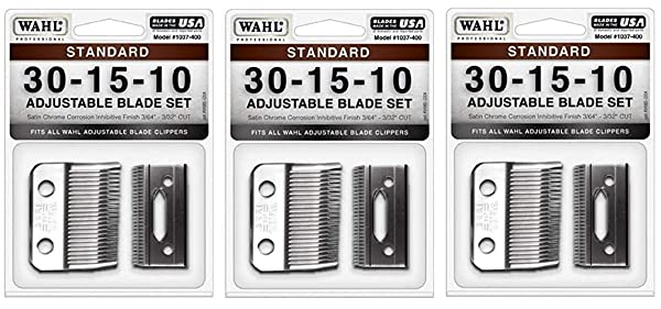 Wahl Professional Animal #30-15-10 Standard Adjustable Blade Set for Wahl's Pro Ion, Iron Horse, Show Pro Plus, U-Clip, and Deluxe U-Clip Pet, Dog, and Horse Clippers (#1037-400) (?hr?? P?ck) (Tamaño: ?hr?? P?ck)