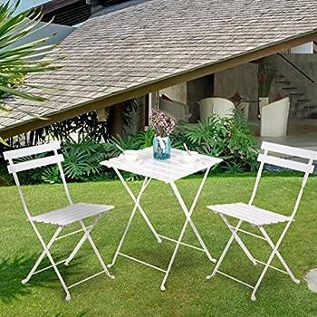 Amazon.com: Leisure Zone Outdoor Folding Bistro Set 3 Piece Patio ...