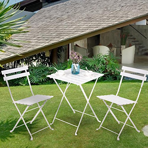 Leisure Zone Outdoor Folding Bistro Set 3 Piece Patio Table and Chairs Set, Metal and Solid Wood (White)