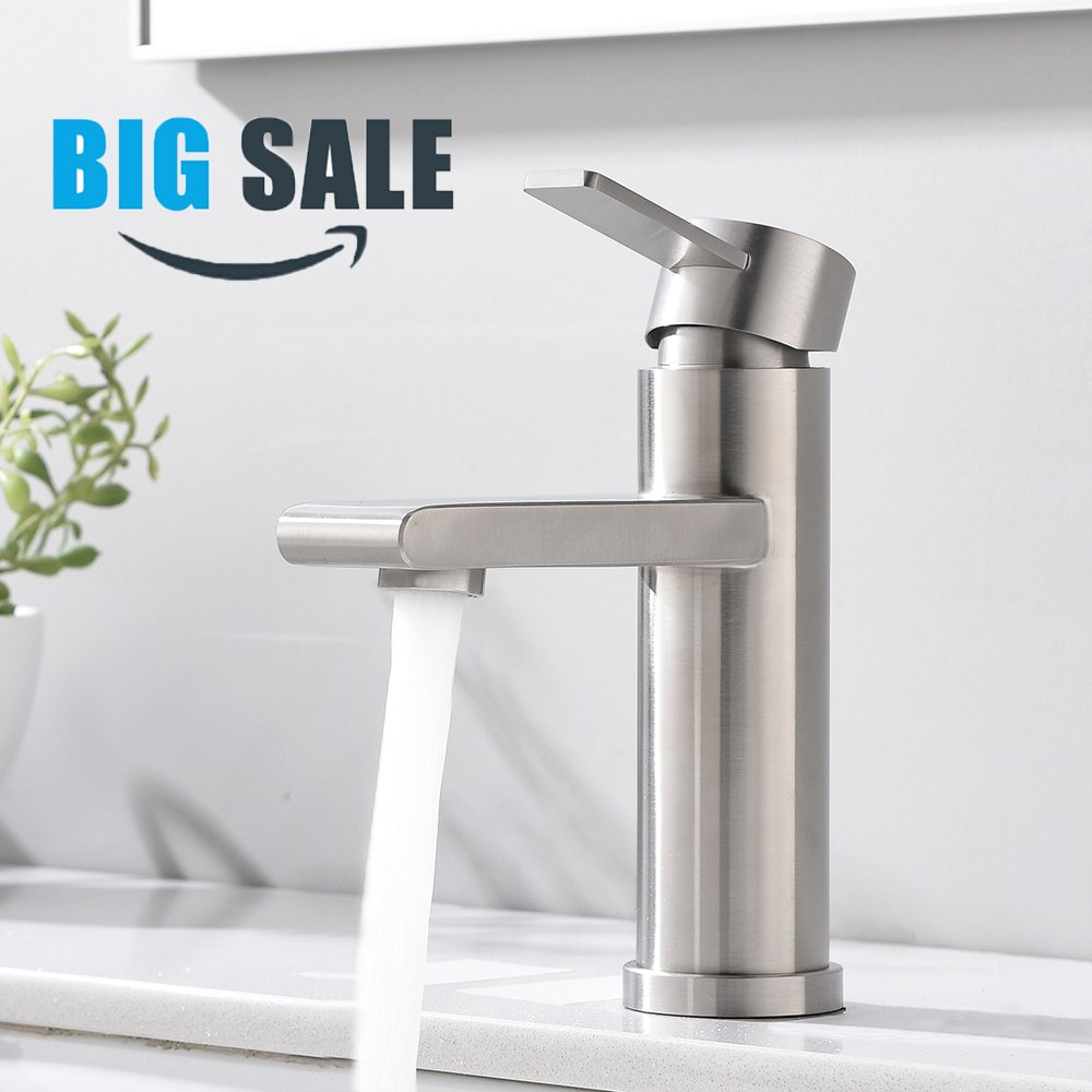 VCCUCINE Modern Commercial Brushed Nickel Single Handle Bathroom Faucet, Laundry Vanity Sink Faucet With Two 3/8'' Hoses