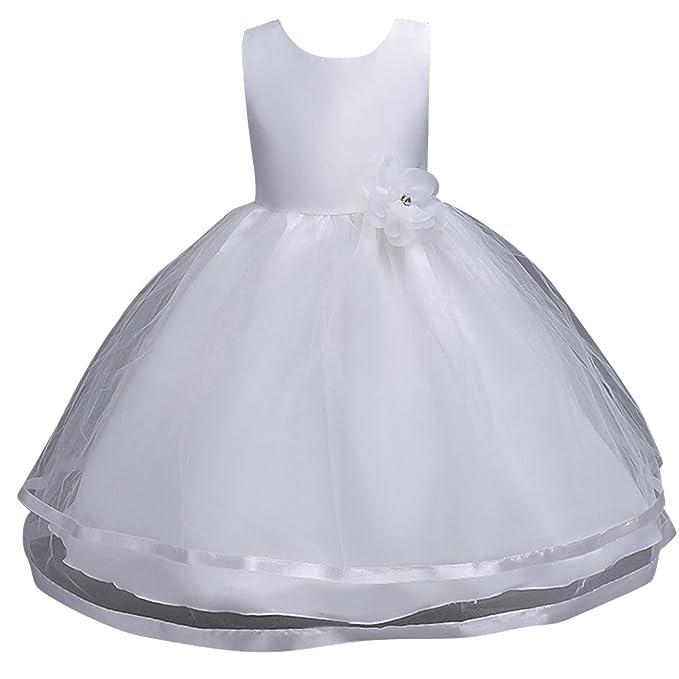 Qitun Vestidos De Princesa Elegante Para Bébes Y Niñas Organza Vestido Infantil De Flor Boda De