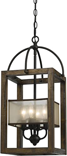 Cal Lighting FX-3536 4 Mission Wood Metal Four Light Transitional Style Chandelier, 23 inches, Dark Bronze
