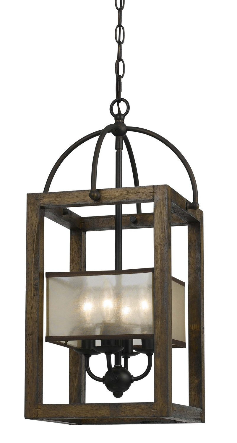 Cal Lighting FX-3536/4 Mission Wood/Metal Chandelier, Dark Bronze Finish