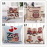 Owl-45cm-Square-Linen-Cotton-Throw-Pillow-Cases-Home-Decor-Car-Chair-Sofa-Cushion-Cover