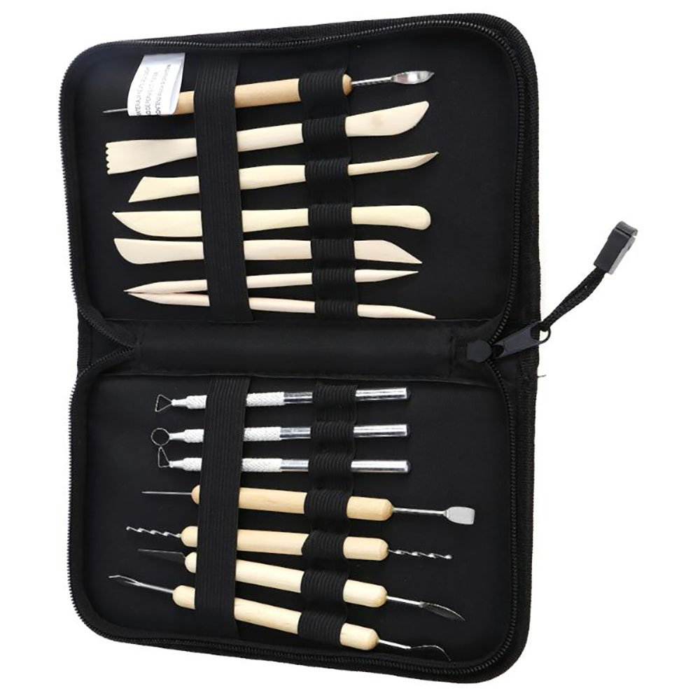 Alxcio Clay Pottery Sculpting Carving Tool Set 14 Pieces Ceramic Clay Boxwood Sculpture Wood Modeling Tools Kit Wooden DIY Tools All-in-one with Canvas Zippered Case