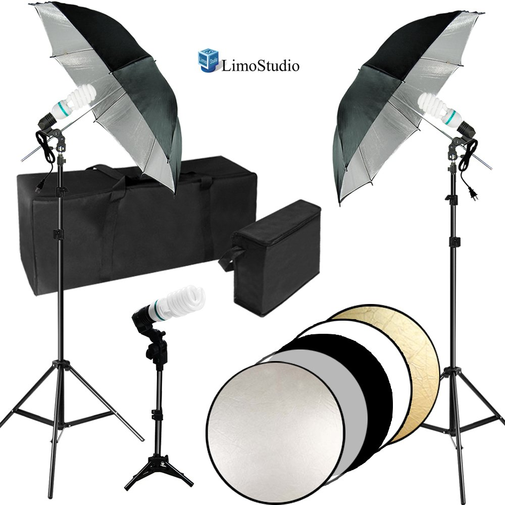 LimoStudio Professional Photo Video Studio Lighting Kit, Black Umbrella Reflector, CFL Bulb, 32 inch Foldable Round Reflector Disc with Carry Stroage Bag, Photography Studio, AGG2354