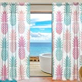SEULIFE Window Sheer Curtain, Vintage Summer Pineapple Pattern Voile Curtain Drapes for Door Kitchen Living Room Bedroom 55x78 inches 2 Panels