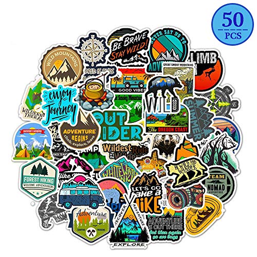 MSOLE 50 Pcs Cute Waterproof Outdoors Adventure Stickers for Water Bottles Laptop Hydroflasks Hiking Camping Travel Decals for Mac Scrapbooking Guitar Motorcycle Bicycle Luggage