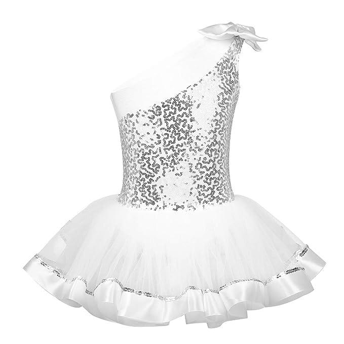 IEFIEL Disfraces Bailarina Niña Maillot Ballet Lentejuelas Maillot Gimnasia Artistica Un Hombro Descubierto Bowknot Vestido de Patinaje Artístico Niña