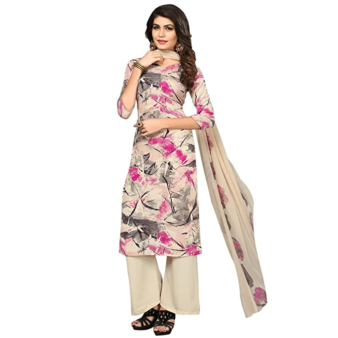53b82a1764 SHELINA Women's Cream Georgette Digital Printed Unstitched Suit Material:  Amazon.in: Clothing & Accessories