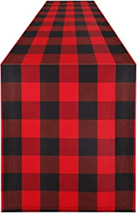 Syntus 14 x 108 inch Buffalo Check Table Runner Cotton-Polyester Blend Handmade Black and Red Plaid for Family Dinner, Outdoor or Indoor Parties, Thanksgiving, Christmas & Gathering