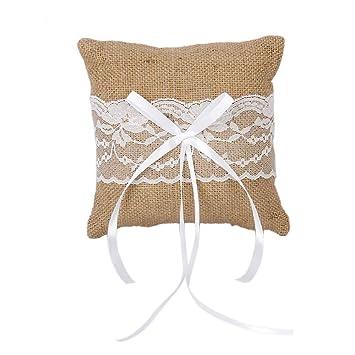 Almohada rústica de yute vintage para anillos de boda de 6 x ...