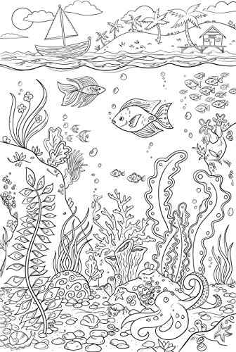 WallPops WPK2184 Reef Coloring Wall Decal, White & Off-White