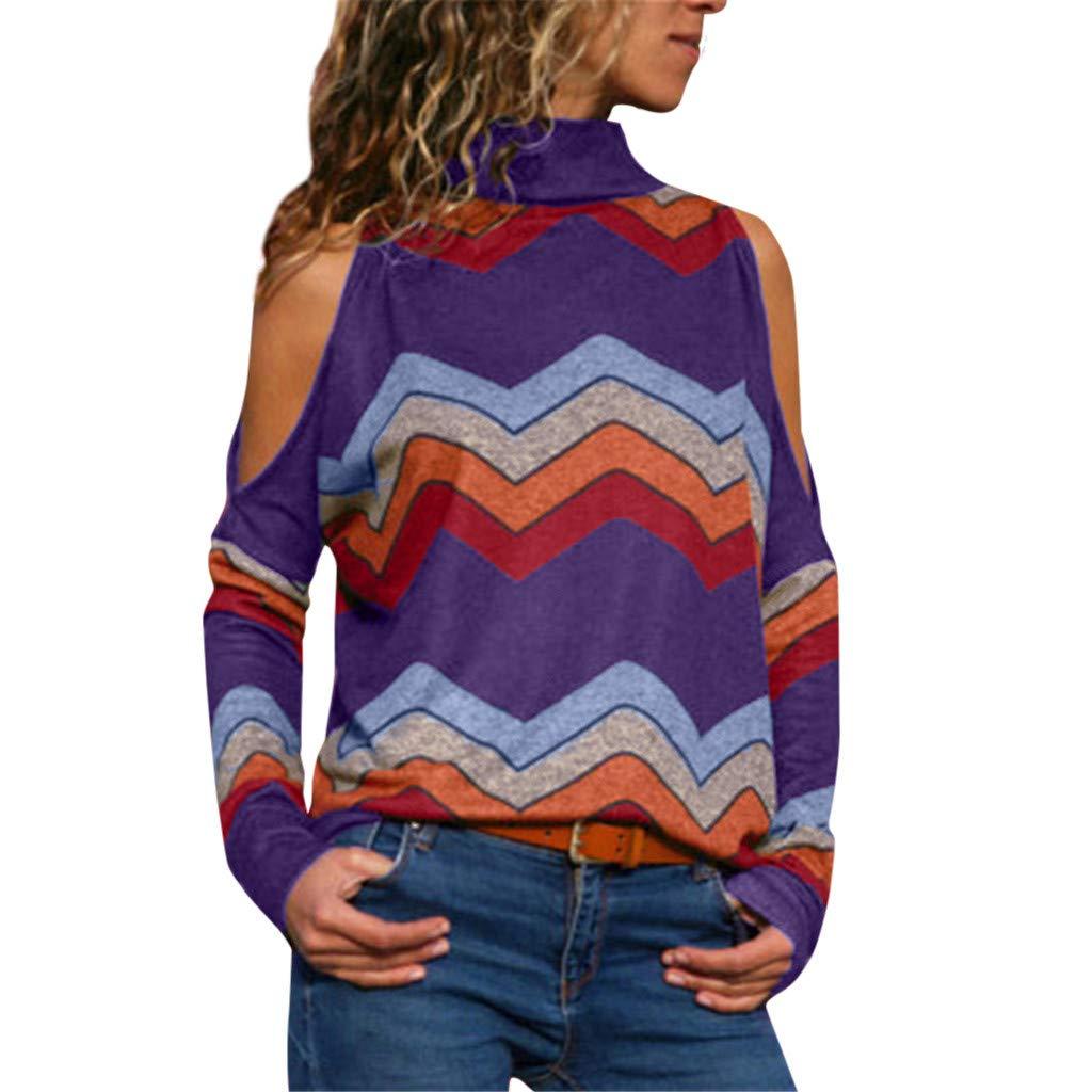 iYBUIA Women Casual Long Sleevel Stripes Printing Tank Top T Shirt Blouse Purple