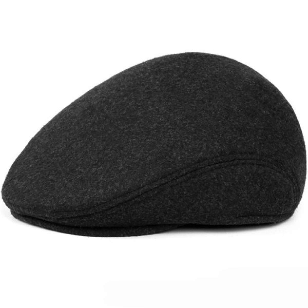 Warm Winter Hats with Ear Flap Men Retro Beret Caps Solid Black Wool Felt Hats for Men Thick Forward Flat Ivy Cap Dad Hat at Amazon Mens Clothing store: