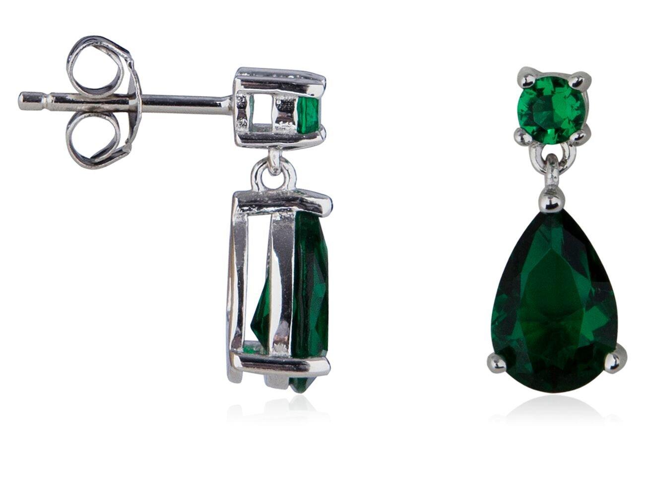 SilverLuxe Sterling Silver Emerald Glass Pear Shape Drop Earring by SilverLuxe