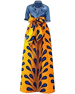 a857aeb84020b6 Niufaashion Womens African Print Dashiki Skirt High Waist Ball Gown Long  Maxi A Line Dresses