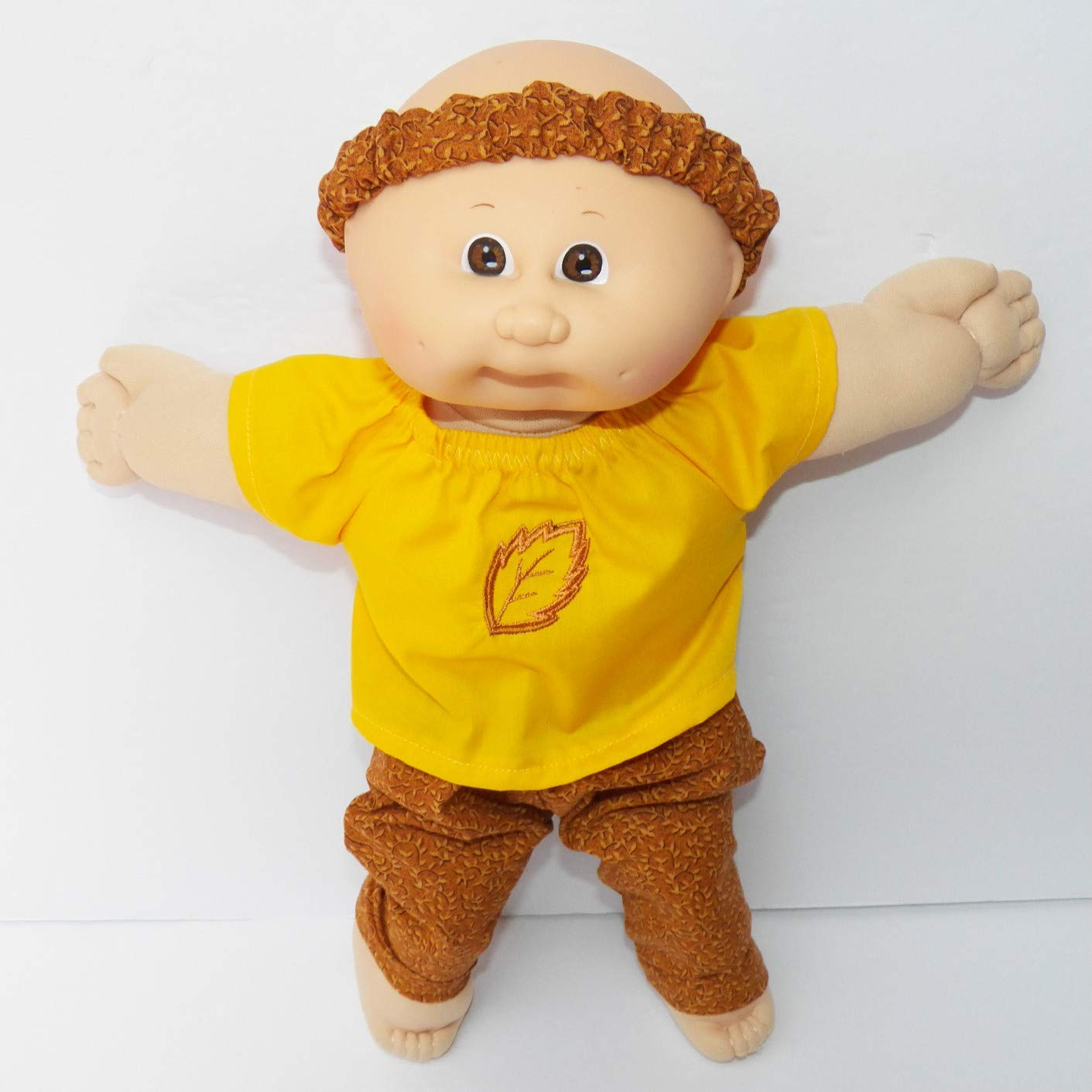 Cabbage Patch Doll Clothes Fits 14 Inch Girl or Preemie Includes One Yellow Fall Embroidered Blouse Pants Headband No Doll