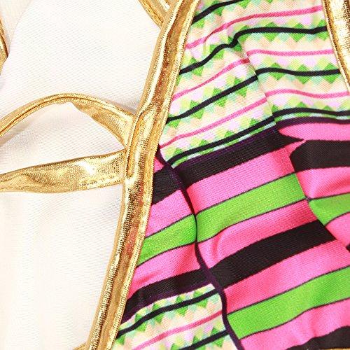 ZAMME Mujeres Africano Tribal Metallic Cut Out Swimwear Bikini de alta cintura establece traje de baño Morado