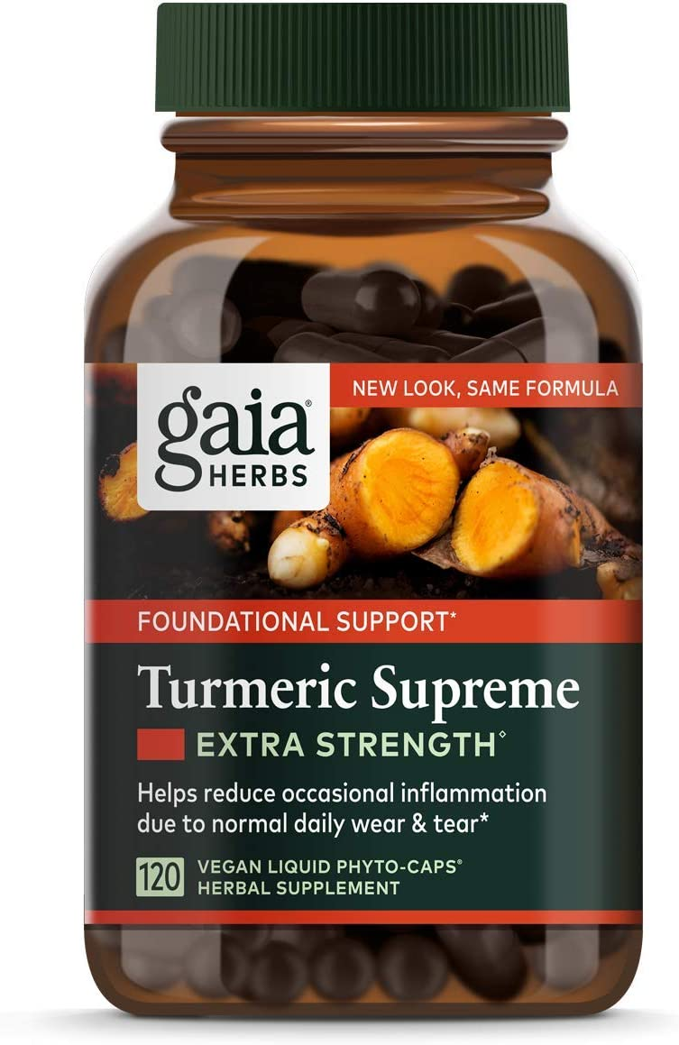 Gaia Herbs, Turmeric Supreme Extra Strength, Turmeric Curcumin Supplement with Black Pepper, Daily Joint Support Healthy Inflammatory Response, Vegan Liquid Capsules, 120 Count
