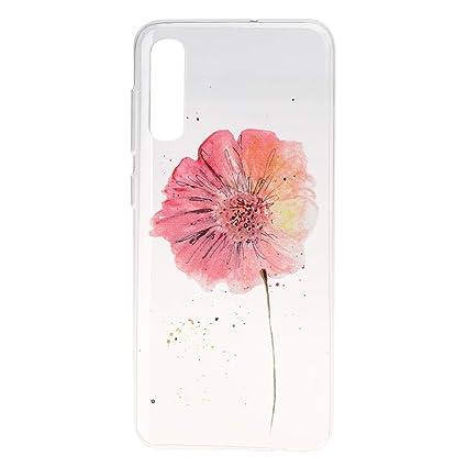 HopMore Funda Carcasa para Samsung Galaxy A70 Silicona Transparente Dibujos Bonita Flor Elegante Carcasas Ultrafina Resistente Case Antigolpes Cover ...