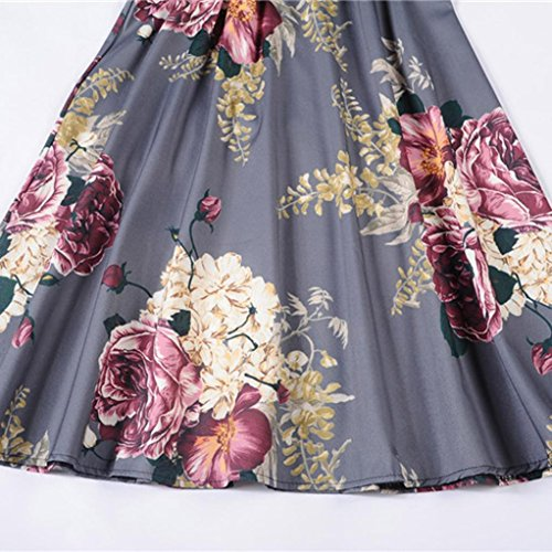 Hepburn Prom Tian Party Gray Sleeveless Vintage Dress Evening Wind Bodycon G Swing Waist Casual Printing Lady EEwqfB