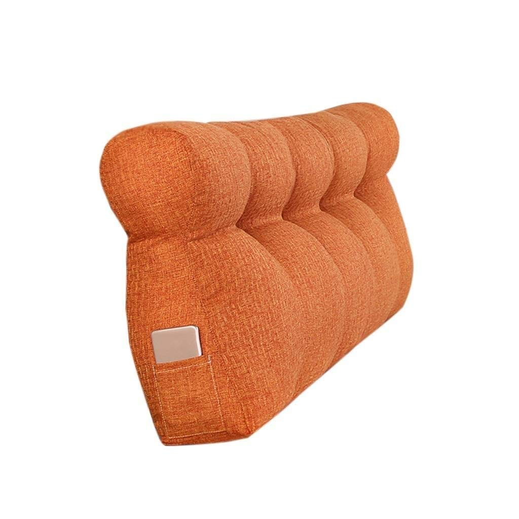 Bbhhyy Triangular Wedge Bedside Back Cushion,Comfortable Sofa Pillow, Washable Pillow Bedroom Living Room Cushion Parents Child Rest Pillow (Color : Orange, Size : 120CM) by Bbhhyy