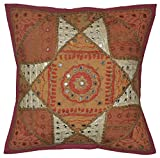 Handcrafted Embroidery Mirror Work Design Ethnic Patchwork Single Throw Pillo