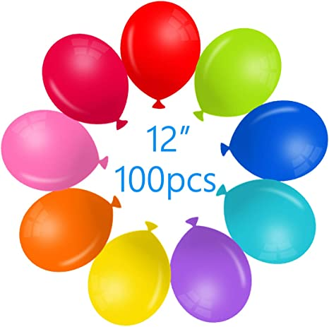 100 Pack Bulk 12 Inches Round 10 Kinds of Rainbow Colors Shiny Latex Assorted Colorful Balloons for Birthday Party VegKey Balloons Assorted Colors Rainbow Party Supplies or Arch Decoration