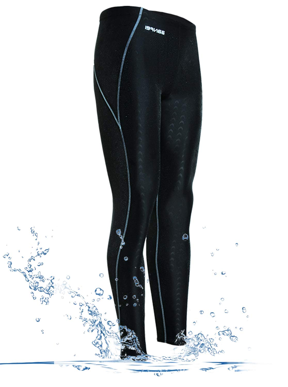 GEEK LIGHTING Womens UPF 50+ Surfing Skins Leggings Wetsuit Swim Long Pants (Black-Green, Small)