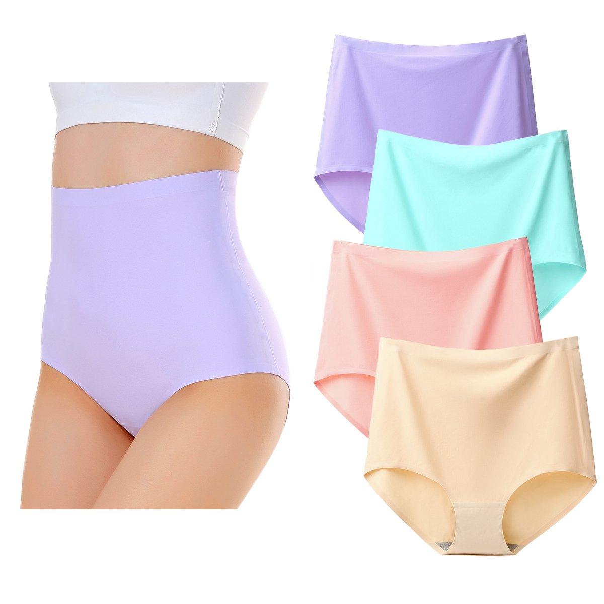 KISSLACE Women Casual Seamless Briefs High Waist Knickers Panties Plus Size 4 Pack KISSLACEjinnmyuk6272