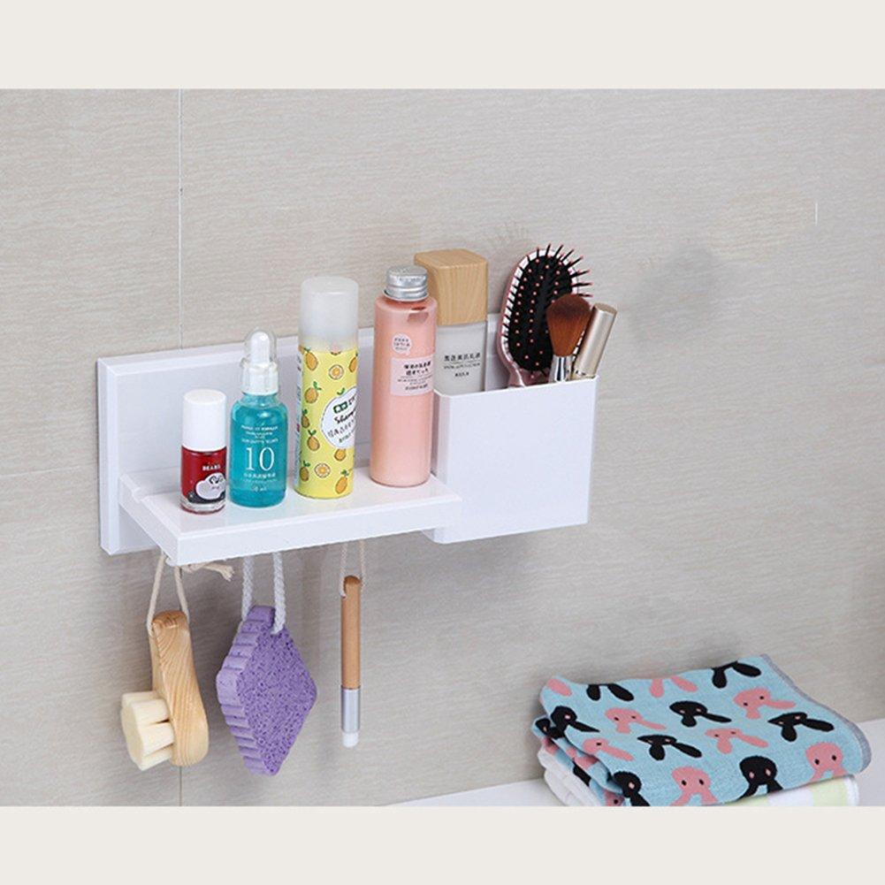 DYHQQ Free Punch Kitchen & Bathroom Multi-Functional Plastic Storage Shelf Wall-Mounted Storage Rack